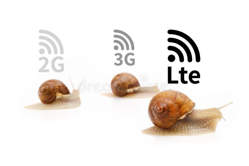 Trayectoria a las redes celulares 5G, concepto móvil de la tecnología de red Banda ancha móvil de alta velocidad de Internet Seña fotografía de archivo libre de regalías