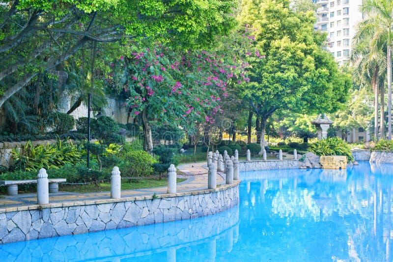 Trayectoria peatonal por la piscina imagen de archivo libre de regalías