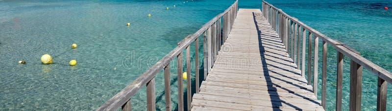 Trayectoria vacía de disminución del paseo marítimo de madera de la perspectiva de la imagen panorámica a través del mar Mediterr fotografía de archivo