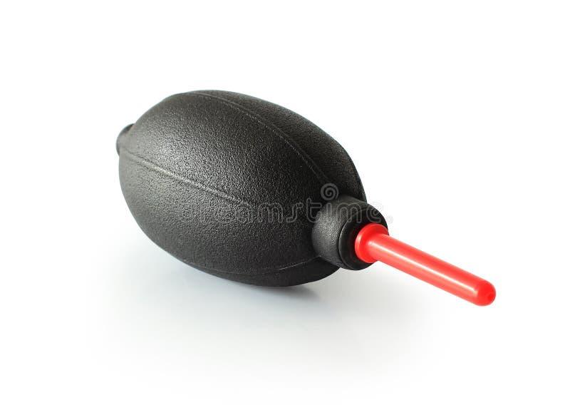 Trayectorias de recortes, bomba de goma negra del ventilador para la cámara de limpieza y lente aislada en el fondo blanco foto de archivo