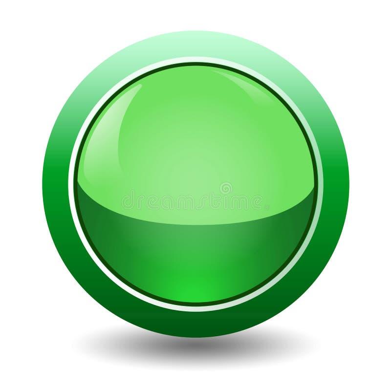 Trayectorias de recortes, ejemplo electrónico y concepto de la tecnología, solo sistema simple del botón del verde del icono libre illustration