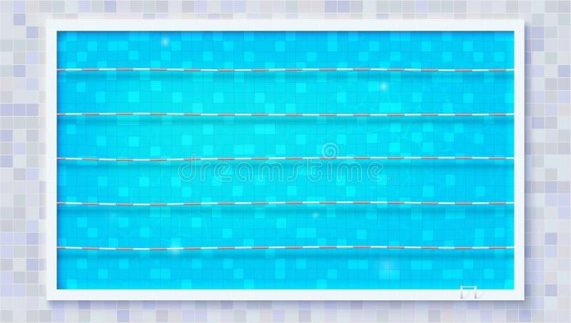 Trayectorias para la inmersión en la piscina, visión superior Agua rasgada azul en piscina olímpica del deporte El la textura del stock de ilustración