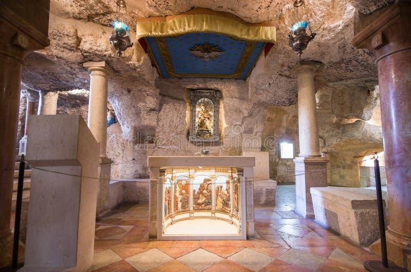 Trayez la chapelle de grotte à Bethlehem, banque occidentale - Israël photo stock