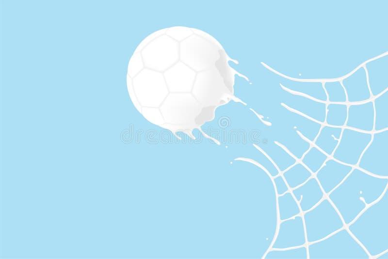 Trayez le ballon de football d'éclaboussure dans la forme de but, illustration virtuelle de conception du concept 3D de jour de l illustration de vecteur