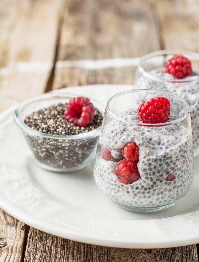 Trayez le pudding avec des graines de chia et des baies fraîches pour images libres de droits