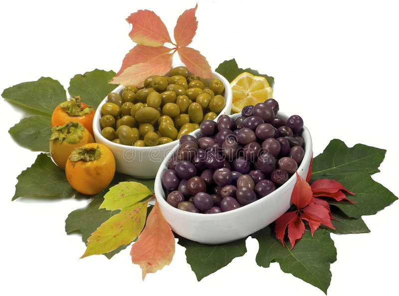 Trays of olives royalty free stock images