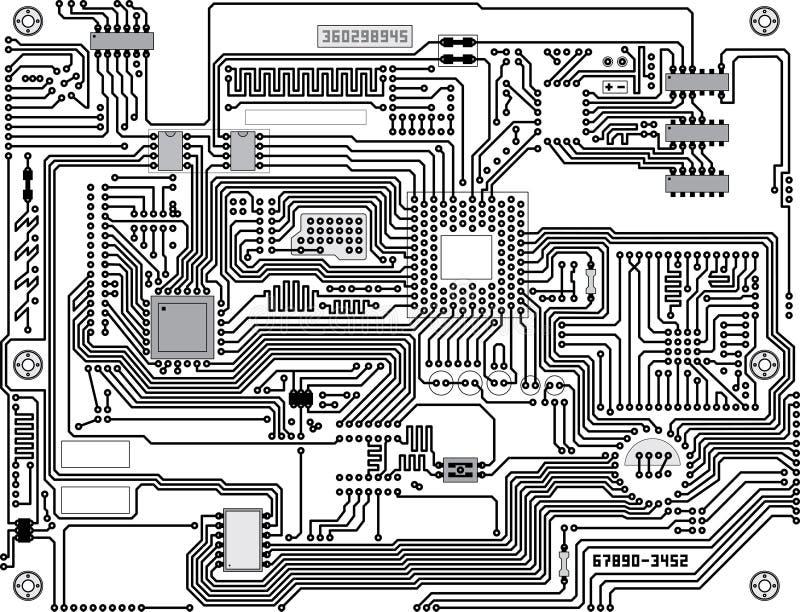 Trazado de circuito del vector - fondo de alta tecnología industrial ilustración del vector