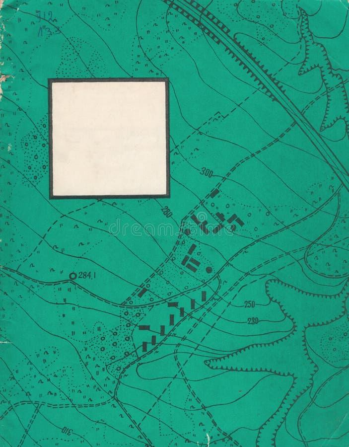 Trazado del contorno del vintage Ejemplos naturales de la impresión de mapas fotografía de archivo