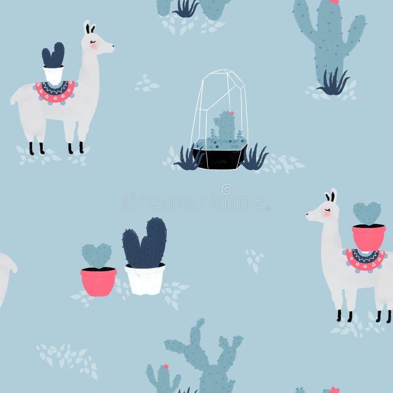 Trazado sin fisuras con llama, cactus y elementos dibujados a mano ilustración del vector
