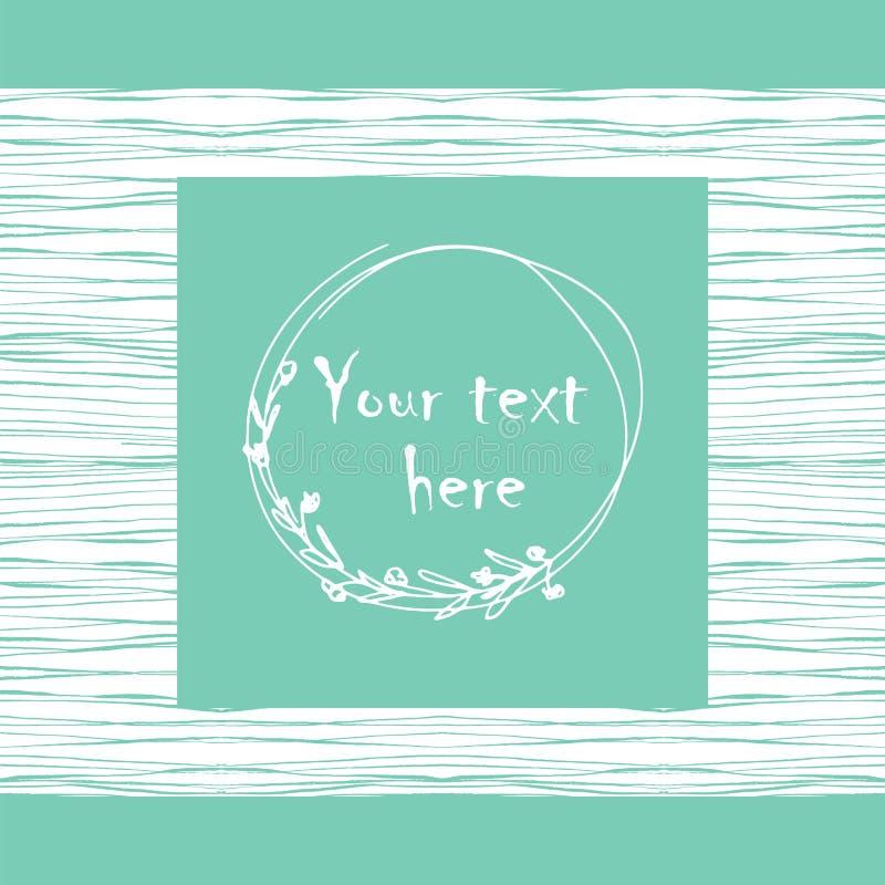 Trazado sin fisuras con marcos de doodle florales dibujados a mano para texto Ilustración blanca color turquesa del vector ilustración del vector