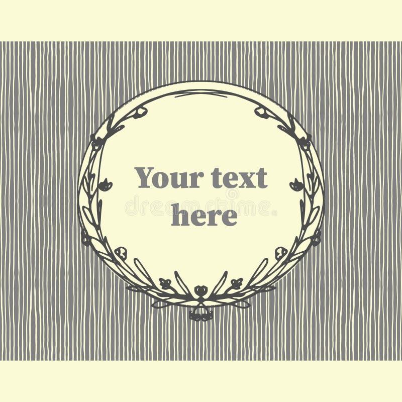 Trazado sin fisuras con marcos de doodle florales dibujados a mano para texto Ilustración gris vectorial ilustración del vector