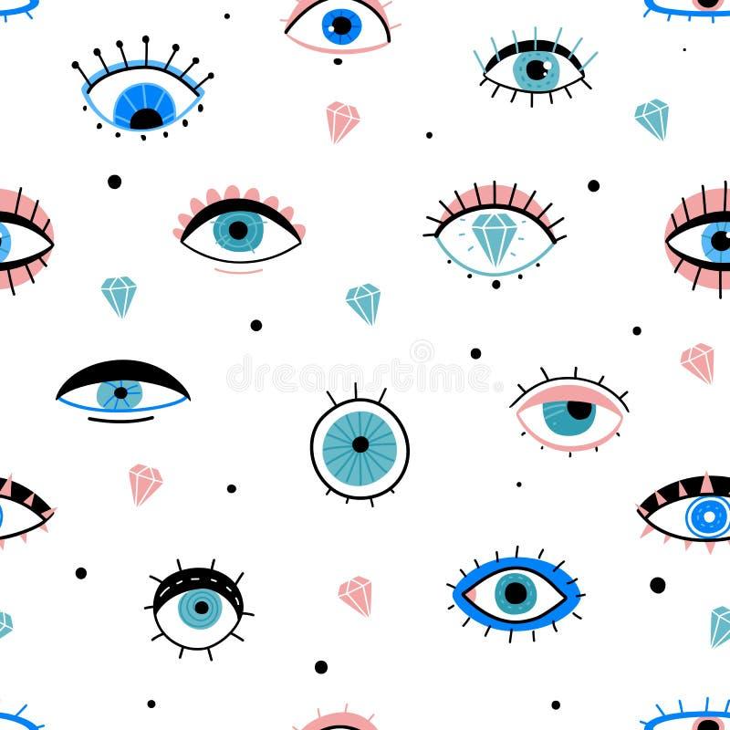 Trazado transparente de garabatos Dibujo a mano varios ojos talismanes, diferentes formas elementos místicos, tela de impresión d ilustración del vector
