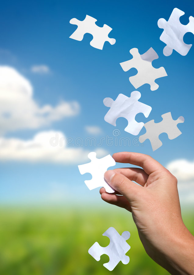 Trazione delle parti di puzzle immagine stock libera da diritti
