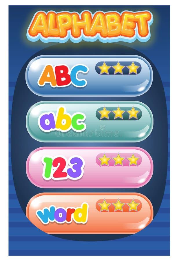 Trazo del alfabeto del juego del menú del GUI y efecto del texto del logotipo ilustración del vector