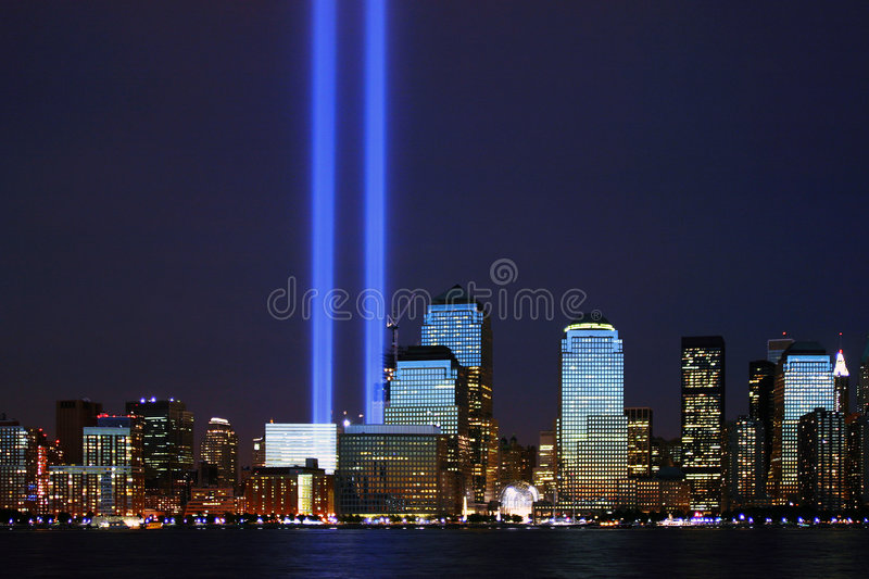 Trbute In Lights. Twin beams of light in remembrance of the events of 9.11.2001