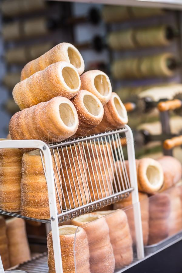 Trdelnik traditional czech slovak or hungarian sweet rolled pasrtry.  royalty free stock images