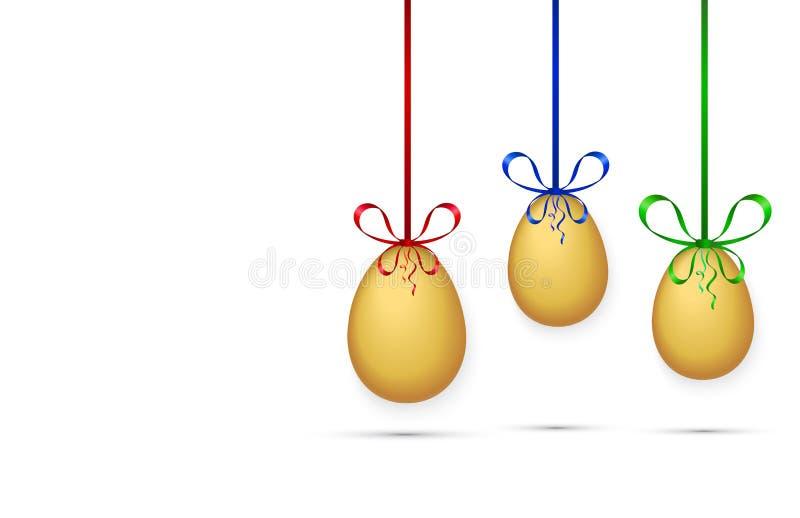 Tre ägg som hänger på kulöra band på vit bakgrund, vektor vektor illustrationer