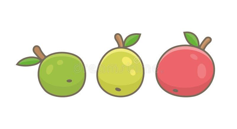 Tre äpplen, grönt, rött och gult vektor illustrationer