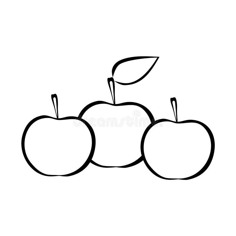 Tre äpplen med bladöversikten royaltyfri illustrationer