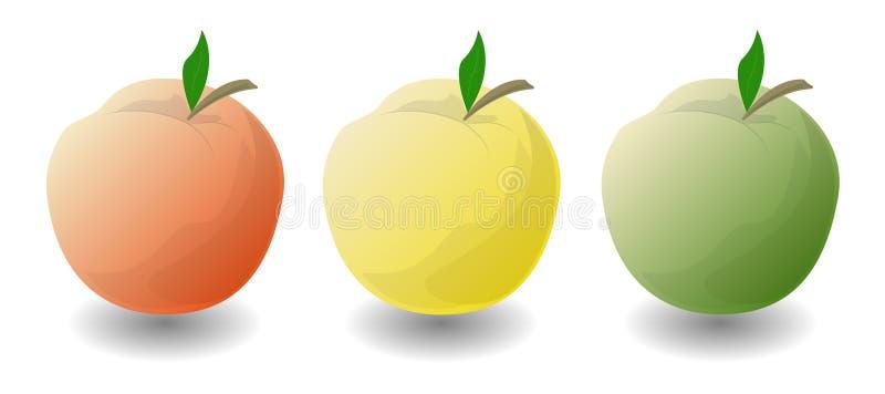 Tre äpplen på en vitbakgrund stock illustrationer