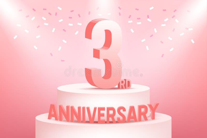 Tre år årsdagberöm på rosa bakgrund royaltyfri illustrationer