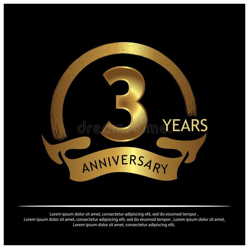Tre år guld- årsdag årsdagmalldesign för rengöringsduken, lek, idérik affisch, häfte, broschyr, reklamblad, tidskrift, inv vektor illustrationer