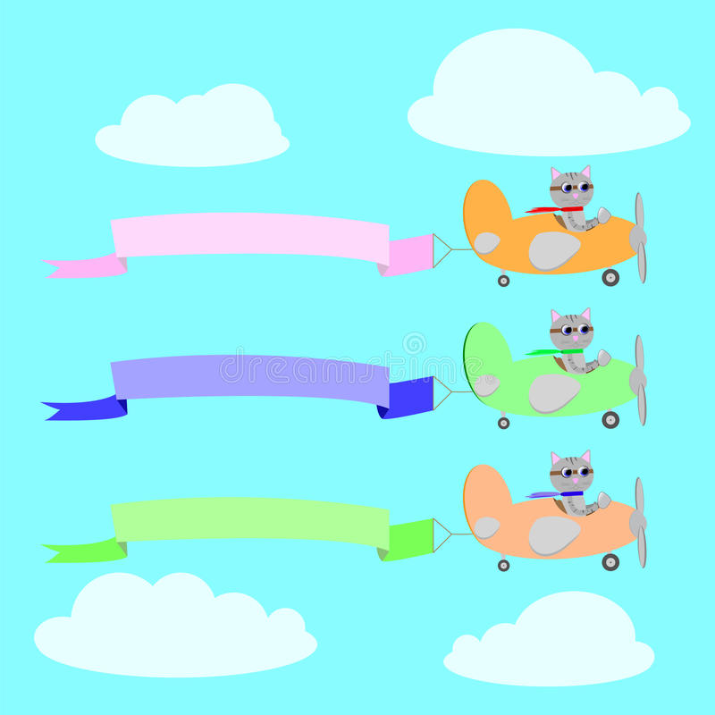 Tre aerei con i piloti e le insegne dei gatti royalty illustrazione gratis