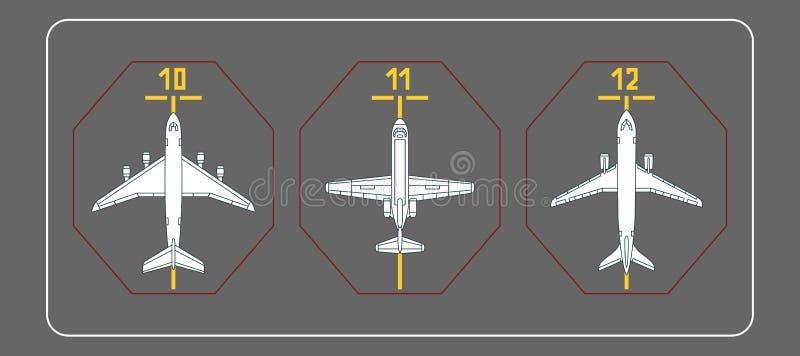 Tre aeroplani sul grembiule terminale royalty illustrazione gratis