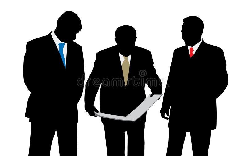 Tre affärsmanarkitekter eller teknikerer som ser ett nytt vektor illustrationer