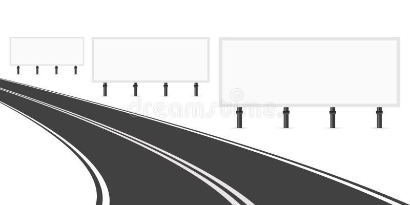 Tre affischtavlor längs vägen Tre tomma vitmellanrumsaffischtavlor för annonsering Krökningväg med teckning ljus vektorvärld för  vektor illustrationer