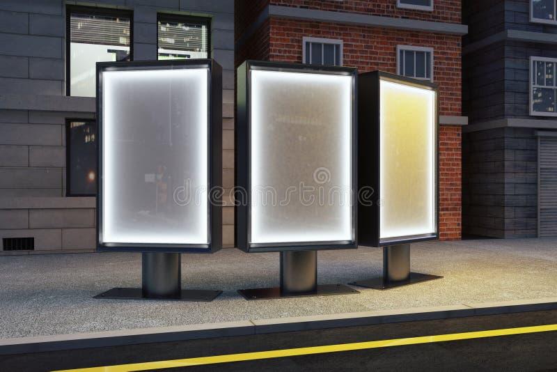 Tre affischtavlor på gatan på natten royaltyfri illustrationer