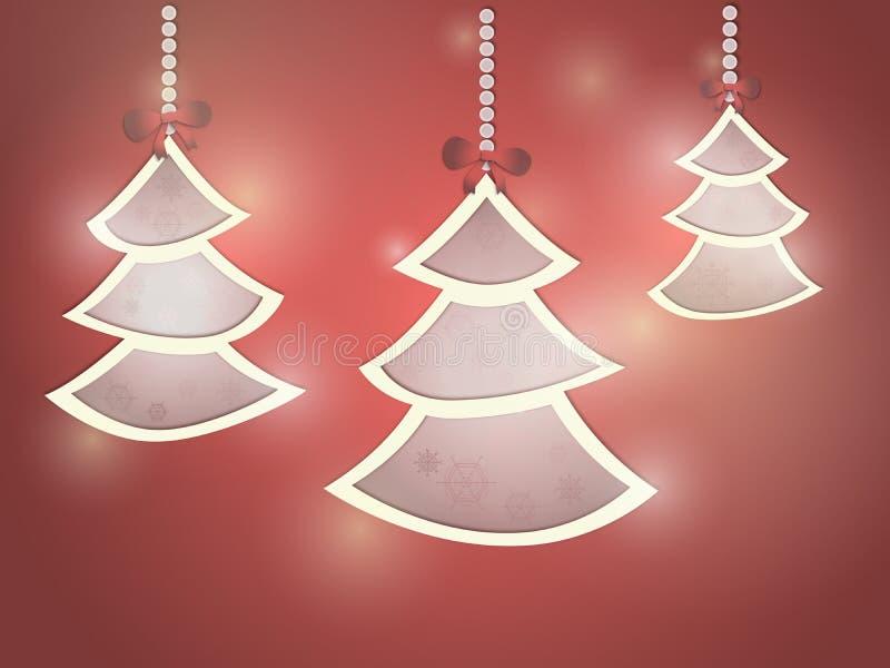 Tre alberi di Natale su un fondo rosso illustrazione di stock