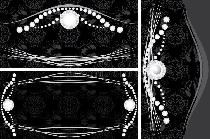 Tre ambiti di provenienza decorativi per il disegno dei monili illustrazione vettoriale
