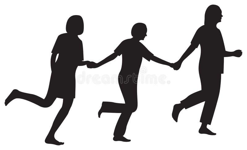 Tre amiche eseguono insieme il vettore della siluetta illustrazione di stock