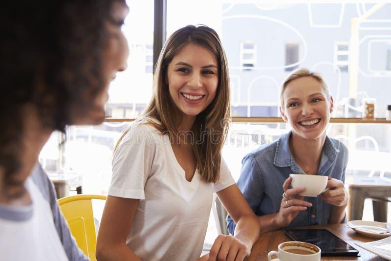 Tre amici femminili che si incontrano nella caffetteria fotografia stock