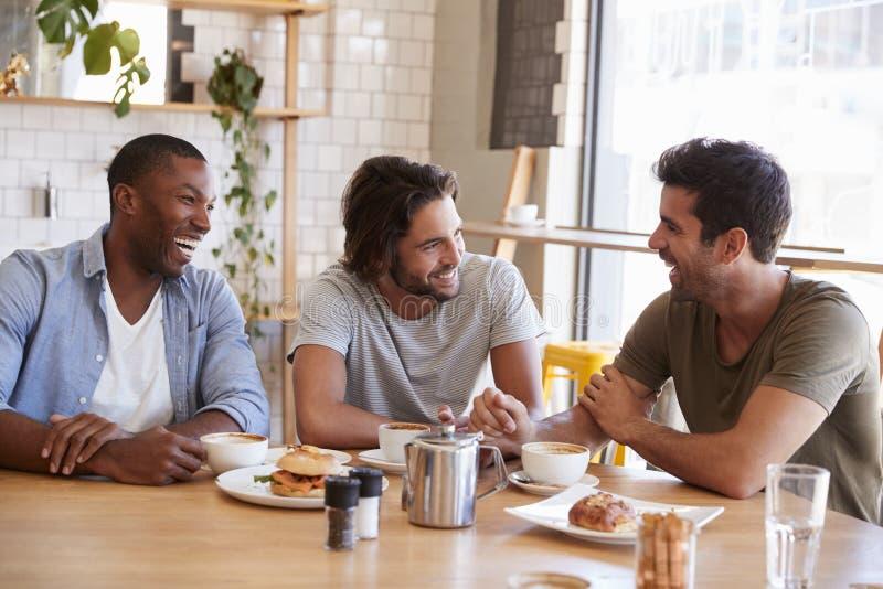 Tre amici maschii che si incontrano per il pranzo in caffetteria fotografia stock
