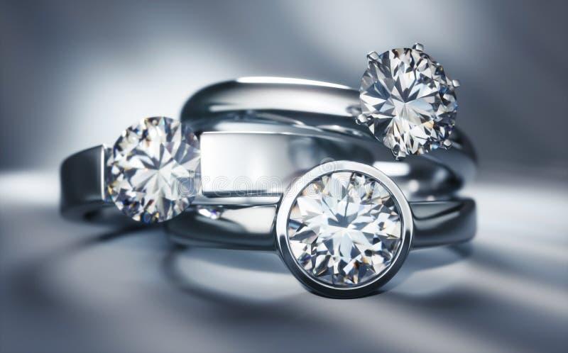 Tre anelli di diamante preziosi del solitario royalty illustrazione gratis