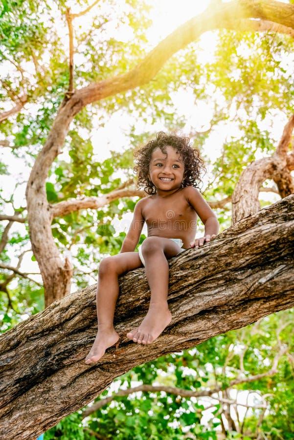 Tre anni del bambino che si siede su un brunch dell'albero nella foresta della giungla divertendosi all'aperto immagini stock