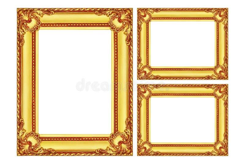 tre antika guld- träramar som isoleras på vit royaltyfri foto