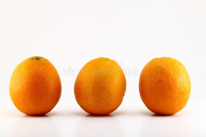 Tre arance mature isolate su fondo bianco fotografie stock