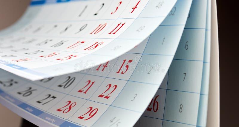 Tre ark av kalendern royaltyfri foto