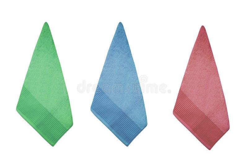 Tre asciugamani di cucina variopinti del cotone immagini stock libere da diritti