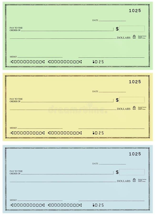 Tre assegni senza i numeri nomi e falsi illustrazione di stock