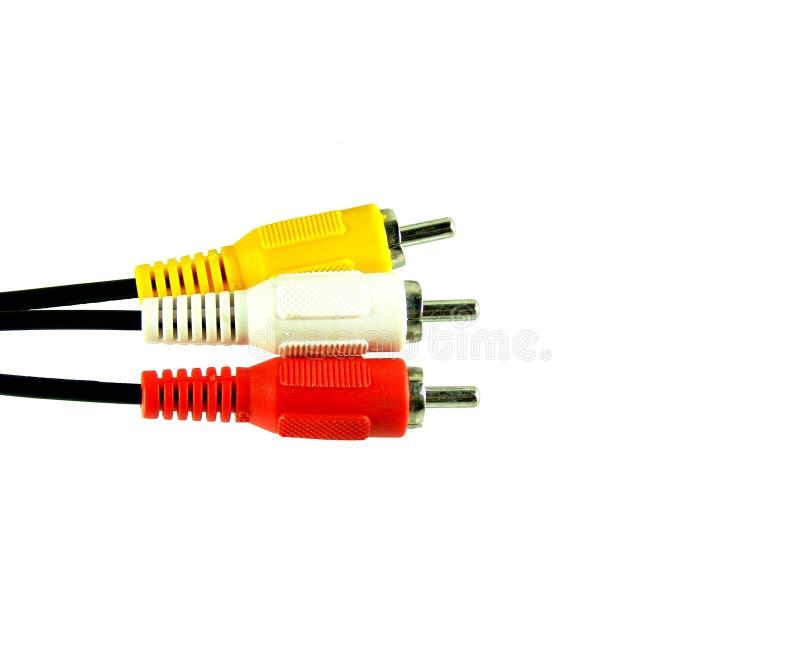 Tre audio/video connettori fotografie stock libere da diritti