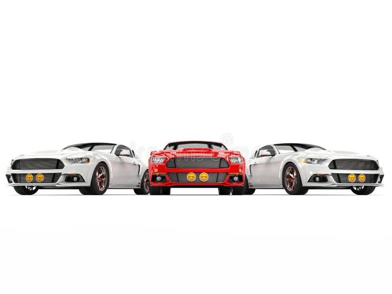 Tre automobili fresche eccellenti del muscolo illustrazione di stock