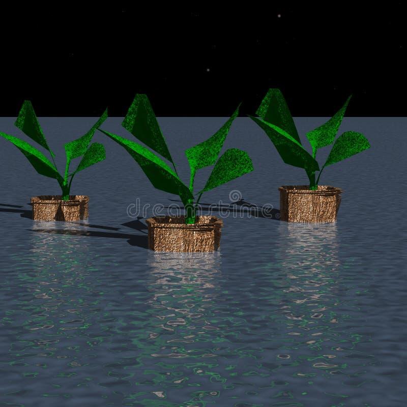 Tre badar av växter royaltyfri illustrationer