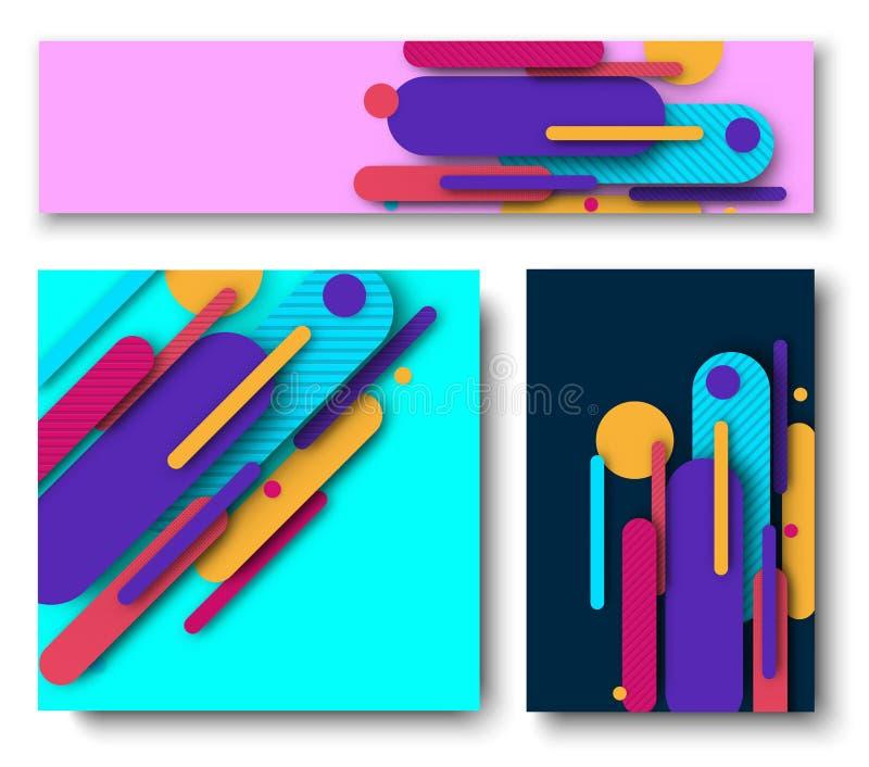 Tre bakgrunder med den ljusa abstrakta färgrika modellen royaltyfri illustrationer