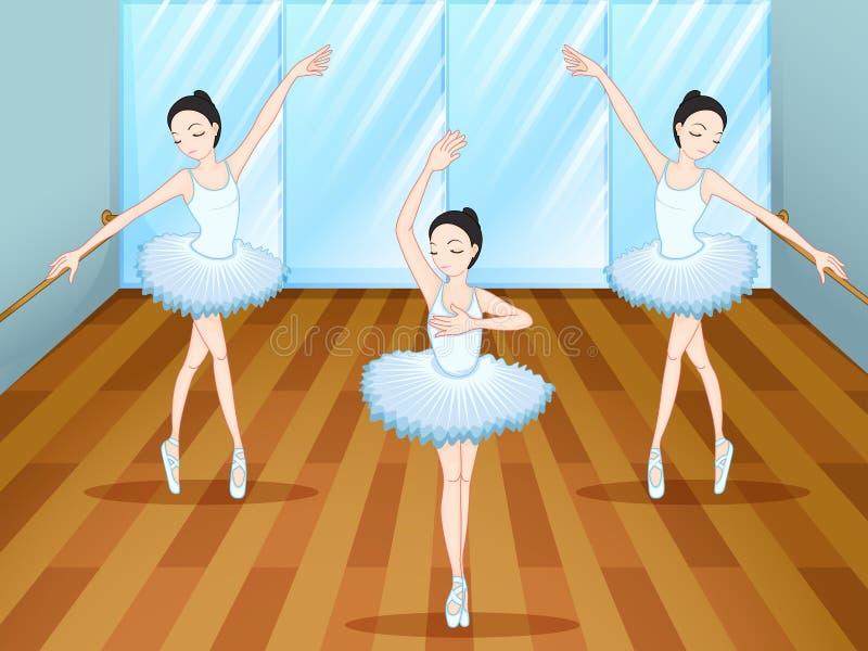Tre ballerini di balletto che ballano dentro lo studio illustrazione vettoriale