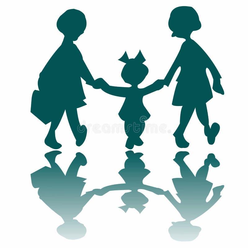 Tre bambine che vanno ad una camminata illustrazione di stock