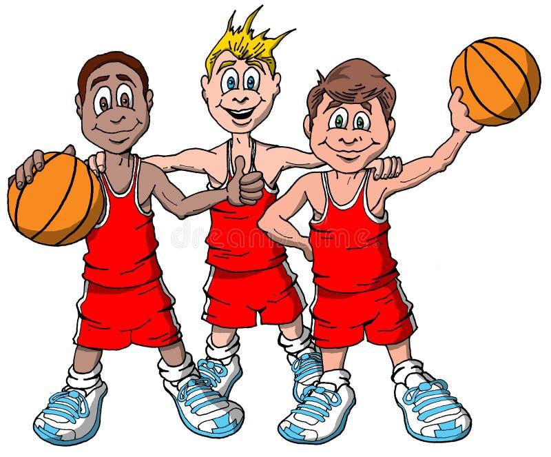 Tre bambini che si preparano per giocare pallacanestro illustrazione vettoriale